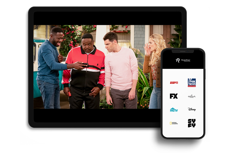"""watchtveverywhere showing """"The Neighborhood"""" on tablet and top channel logos on mobile phone."""
